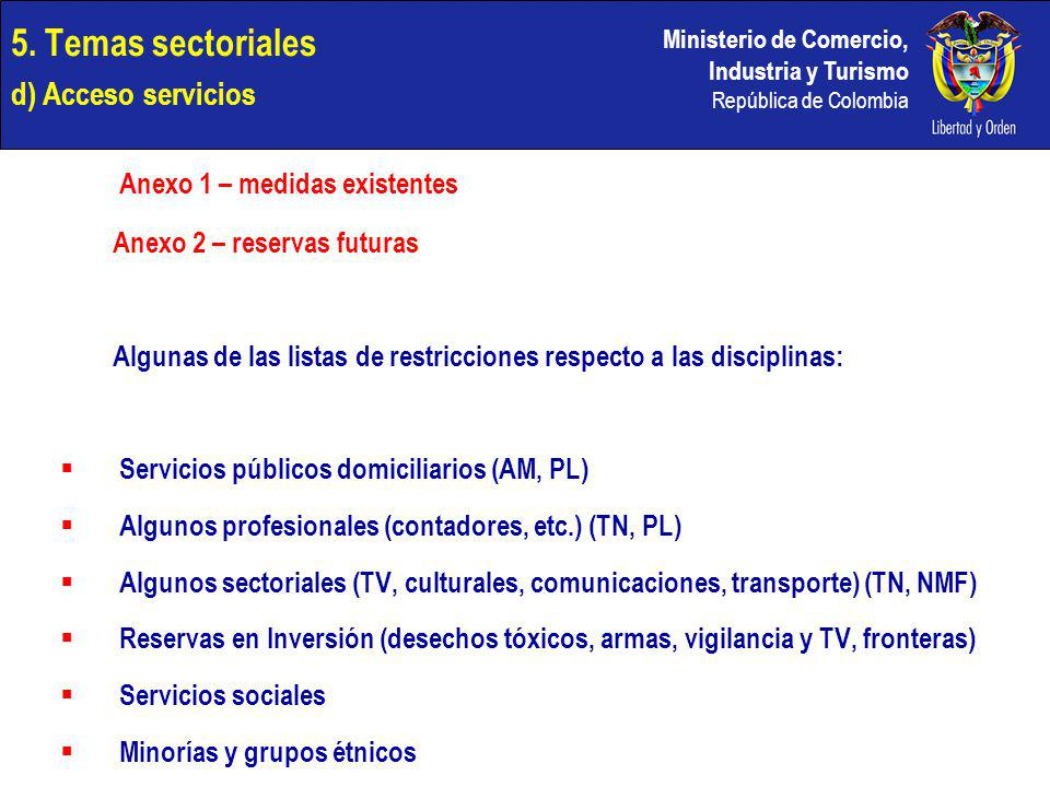 5. Temas sectoriales d) Acceso servicios