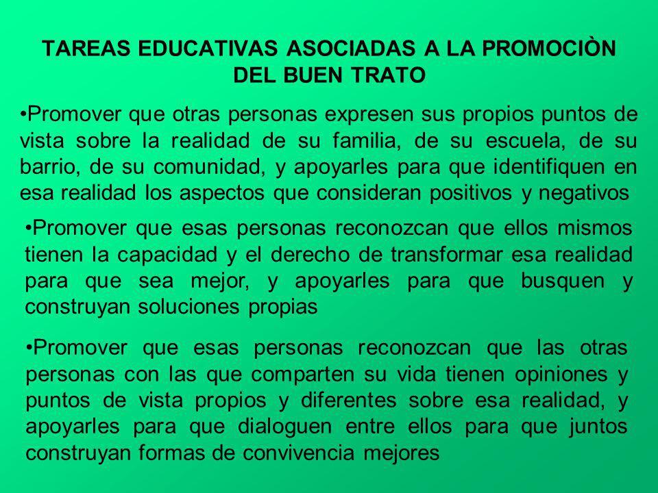 TAREAS EDUCATIVAS ASOCIADAS A LA PROMOCIÒN DEL BUEN TRATO