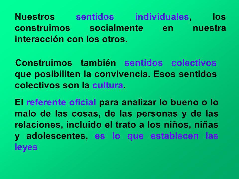Nuestros sentidos individuales, los construimos socialmente en nuestra interacción con los otros.