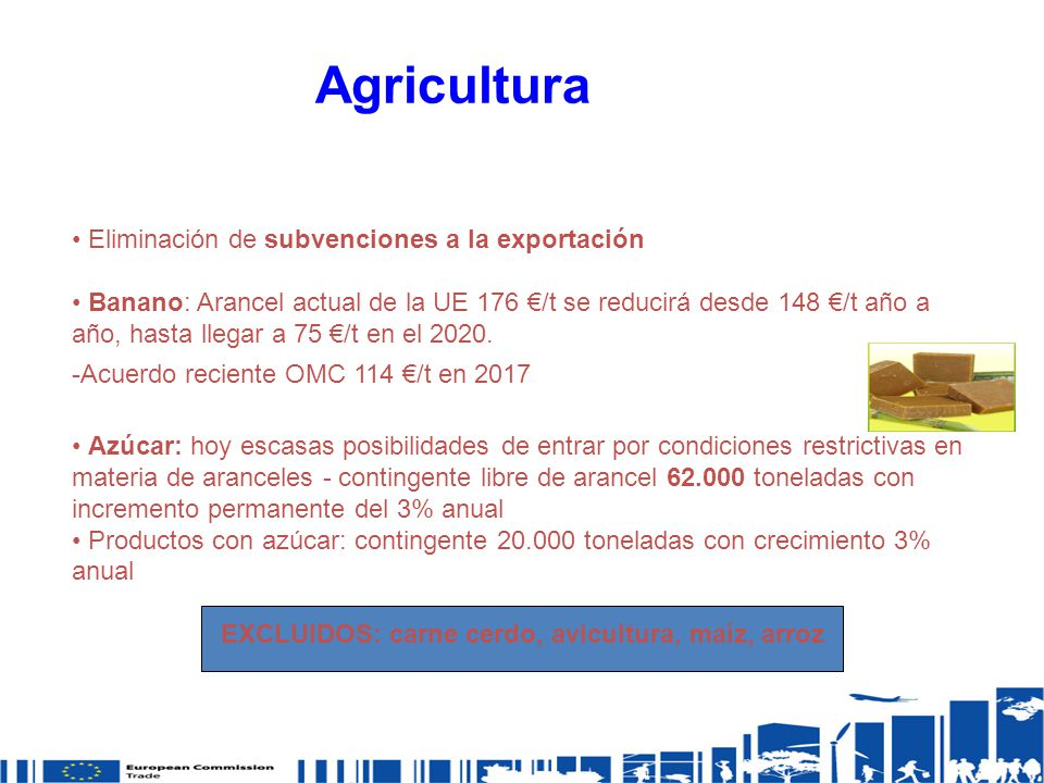 EXCLUIDOS: carne cerdo, avicultura, maíz, arroz