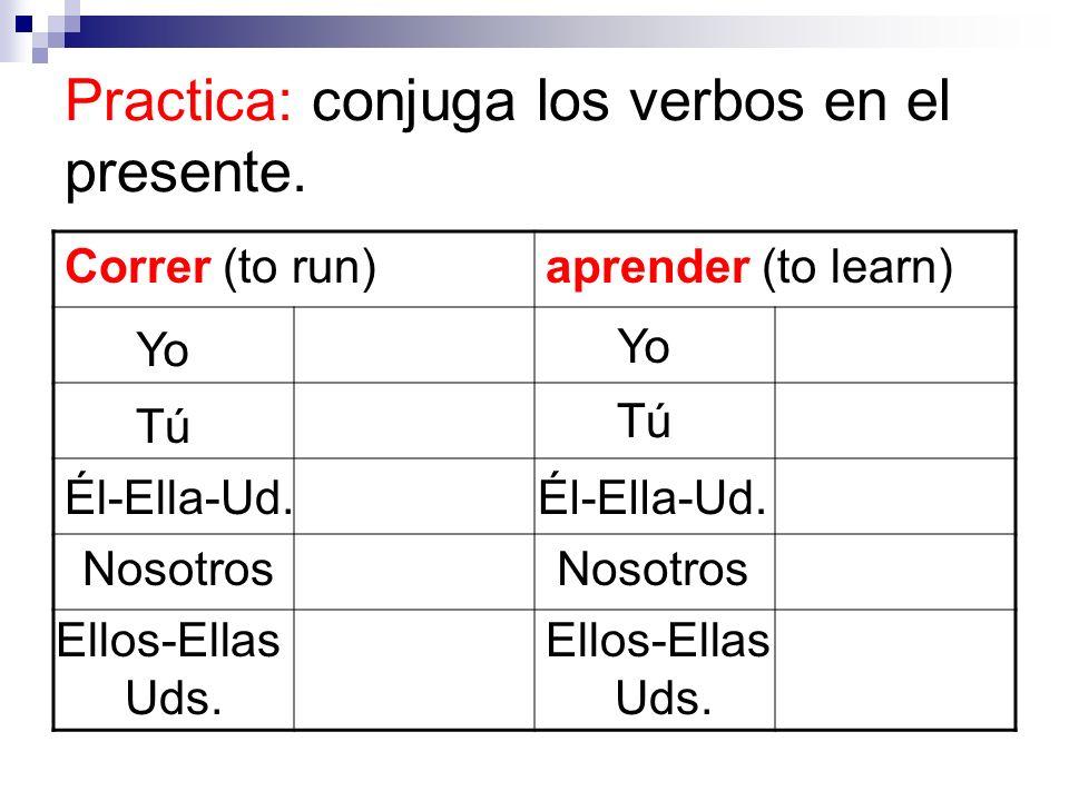 Practica: conjuga los verbos en el presente.