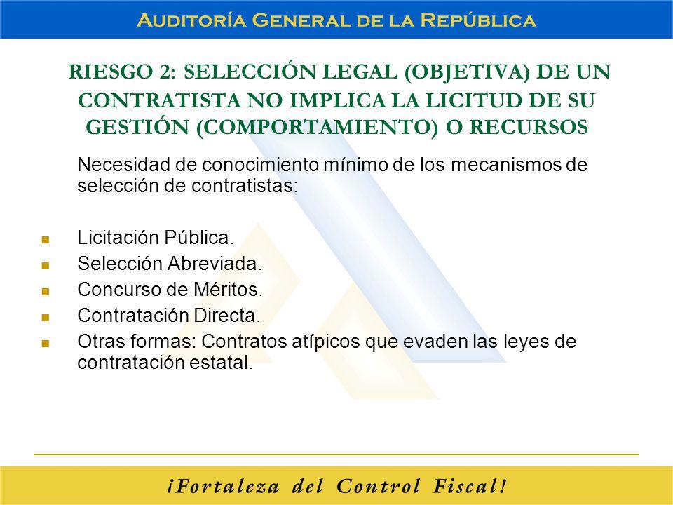 RIESGO 2: SELECCIÓN LEGAL (OBJETIVA) DE UN CONTRATISTA NO IMPLICA LA LICITUD DE SU GESTIÓN (COMPORTAMIENTO) O RECURSOS