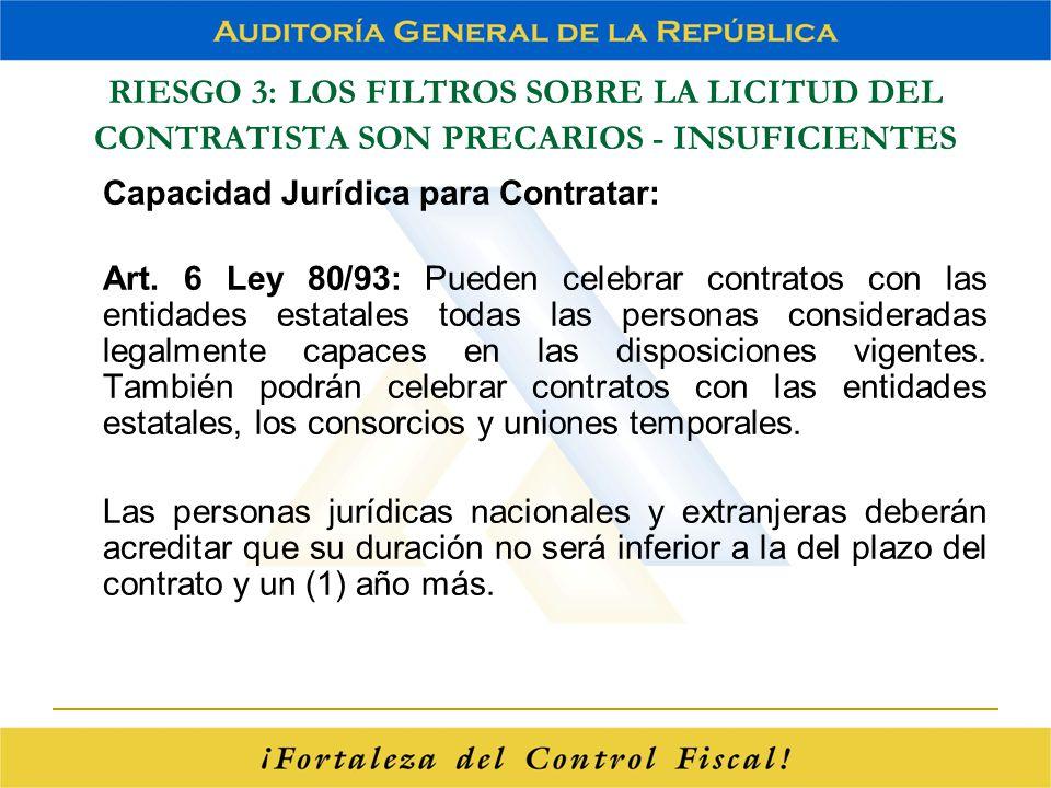 RIESGO 3: LOS FILTROS SOBRE LA LICITUD DEL CONTRATISTA SON PRECARIOS - INSUFICIENTES