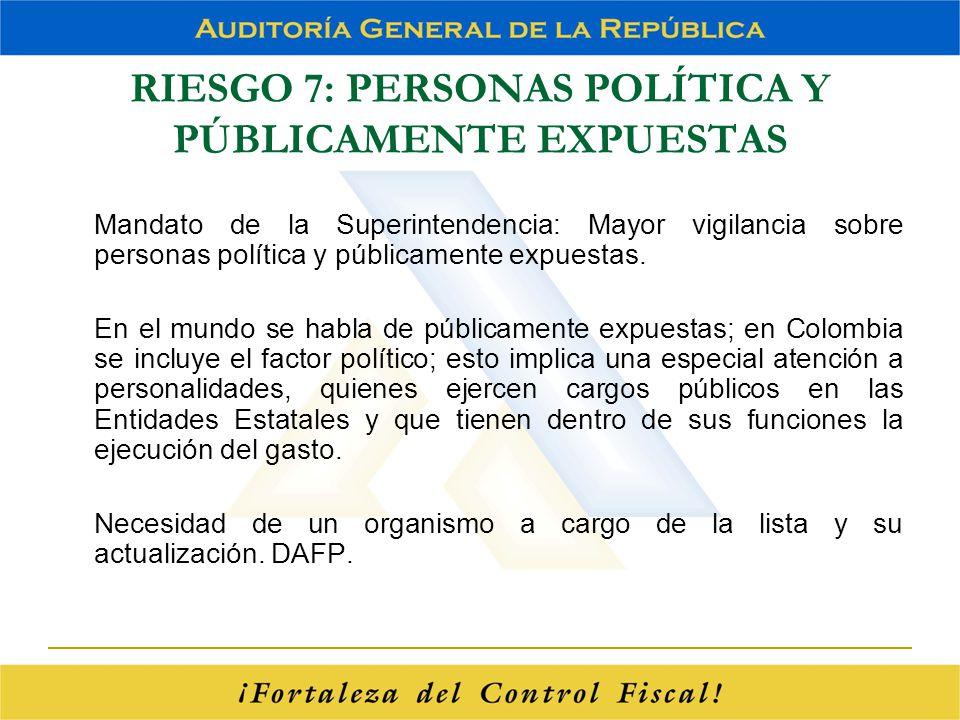 RIESGO 7: PERSONAS POLÍTICA Y PÚBLICAMENTE EXPUESTAS