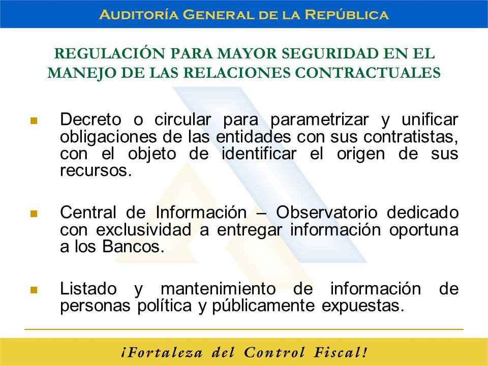 REGULACIÓN PARA MAYOR SEGURIDAD EN EL MANEJO DE LAS RELACIONES CONTRACTUALES