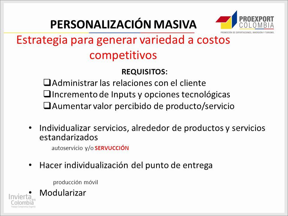 PERSONALIZACIÓN MASIVA Estrategia para generar variedad a costos competitivos