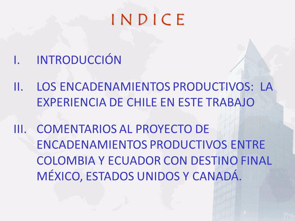 I N D I C E INTRODUCCIÓN. LOS ENCADENAMIENTOS PRODUCTIVOS: LA EXPERIENCIA DE CHILE EN ESTE TRABAJO.
