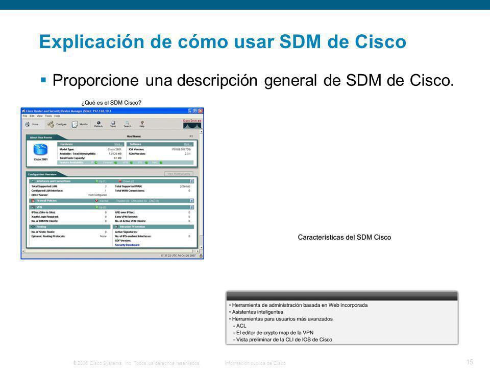 Explicación de cómo usar SDM de Cisco
