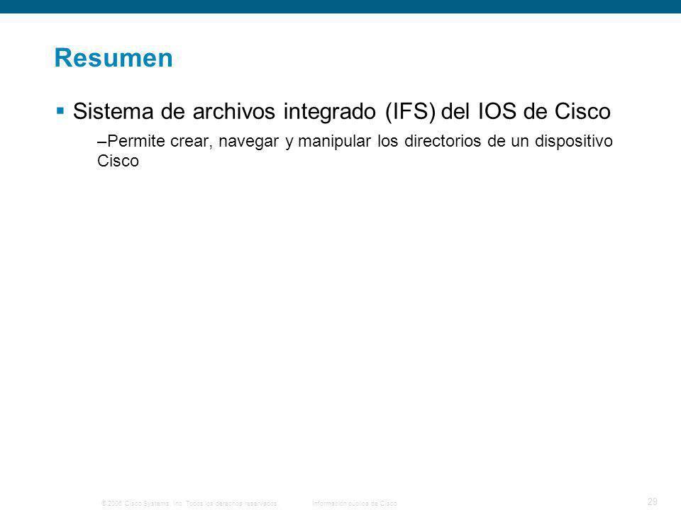 Resumen Sistema de archivos integrado (IFS) del IOS de Cisco