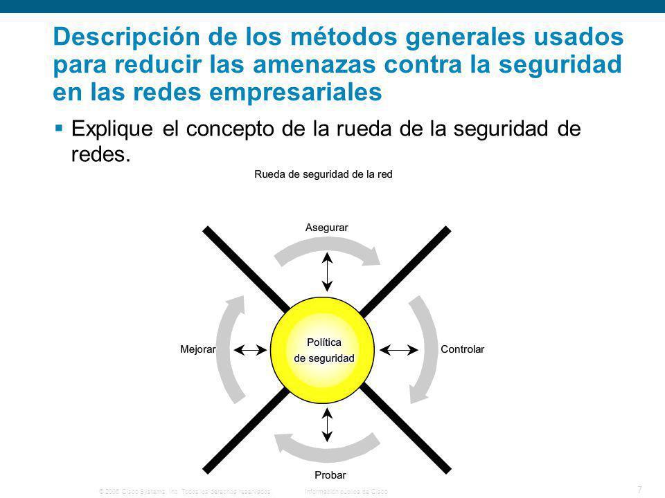 Descripción de los métodos generales usados para reducir las amenazas contra la seguridad en las redes empresariales