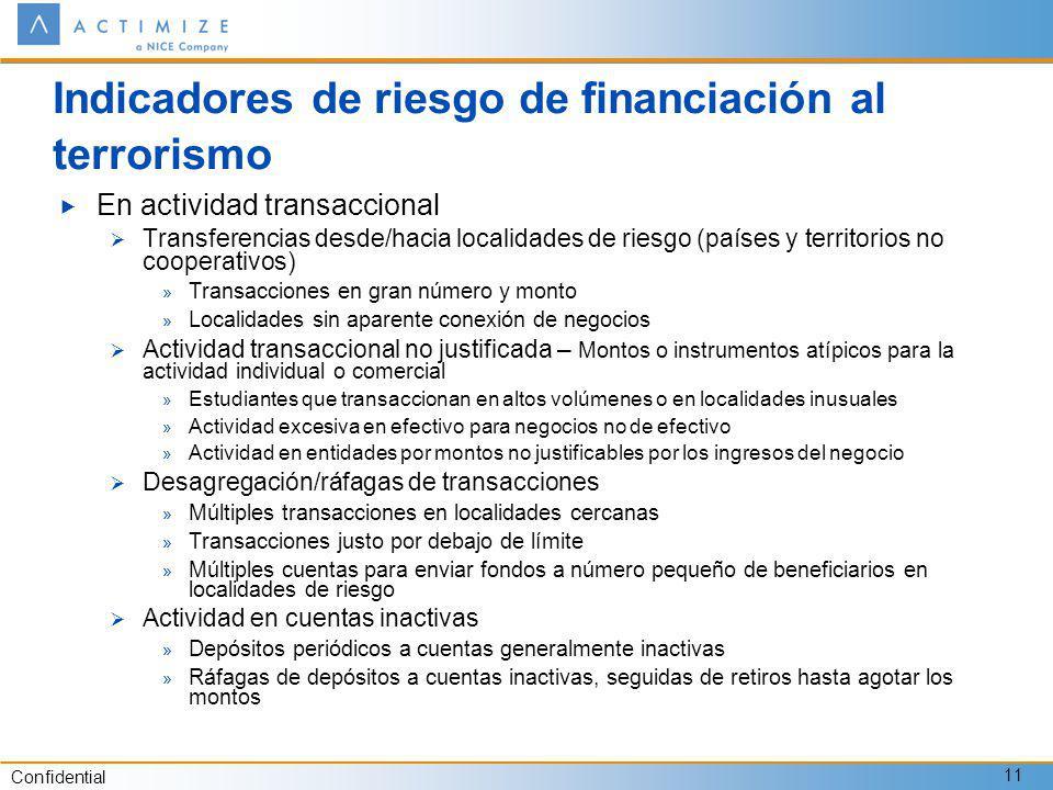 Indicadores de riesgo de financiación al terrorismo