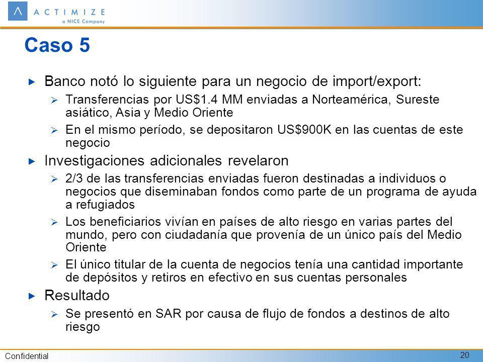 Caso 5 Banco notó lo siguiente para un negocio de import/export:
