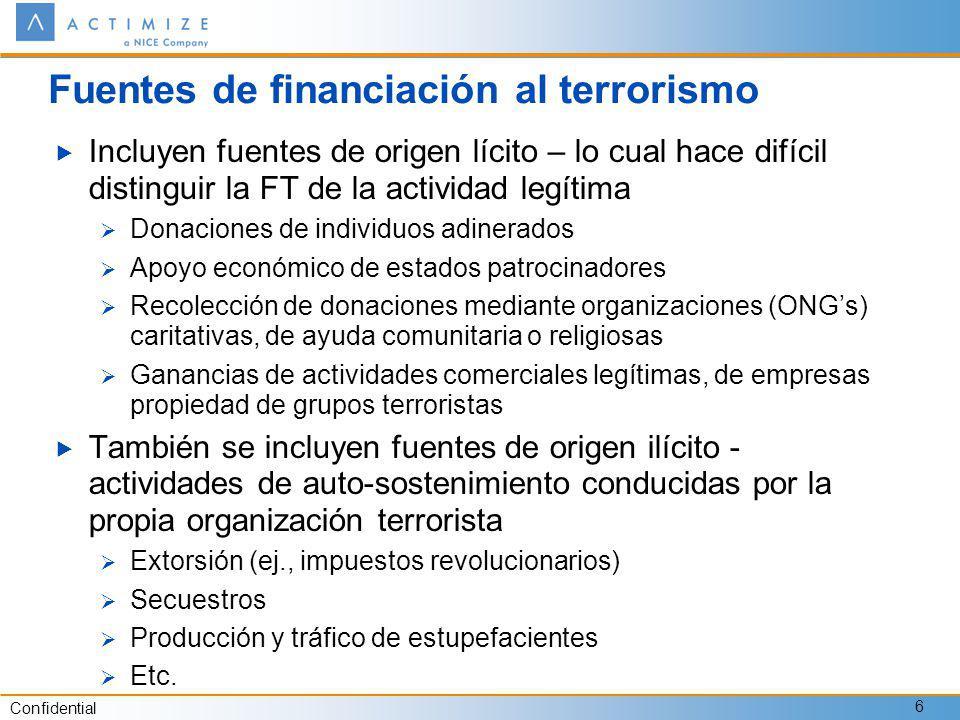 Fuentes de financiación al terrorismo