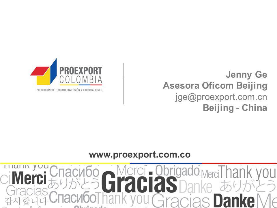 Jenny Ge Asesora Oficom Beijing jge@proexport.com.cn