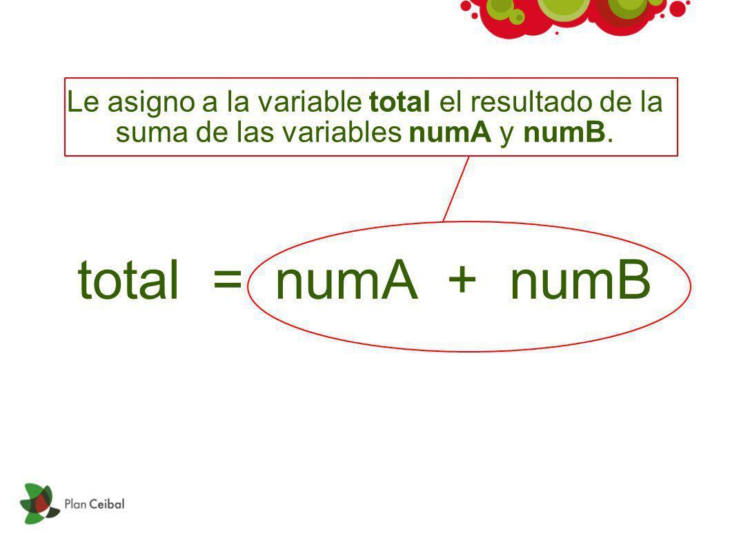 Le asigno a la variable total el resultado de la suma de las variables numA y numB.