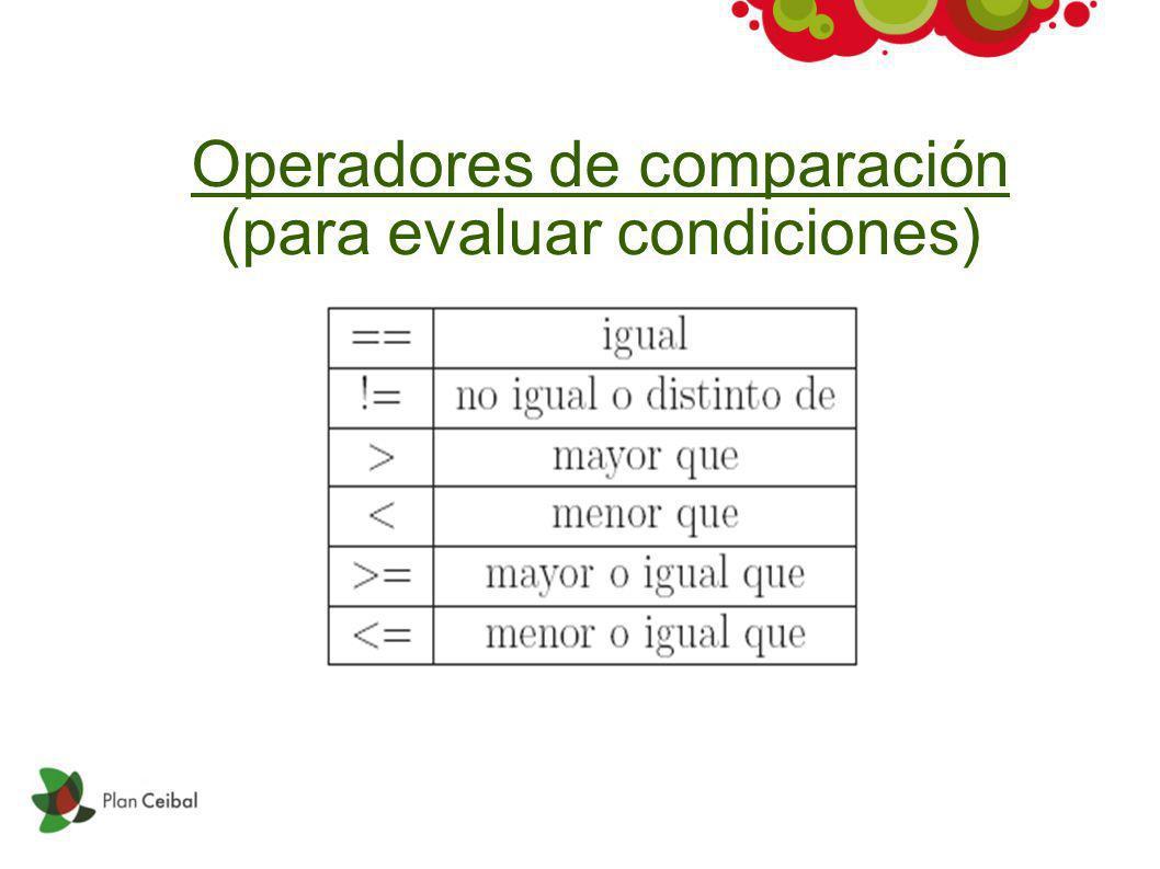 Operadores de comparación (para evaluar condiciones)