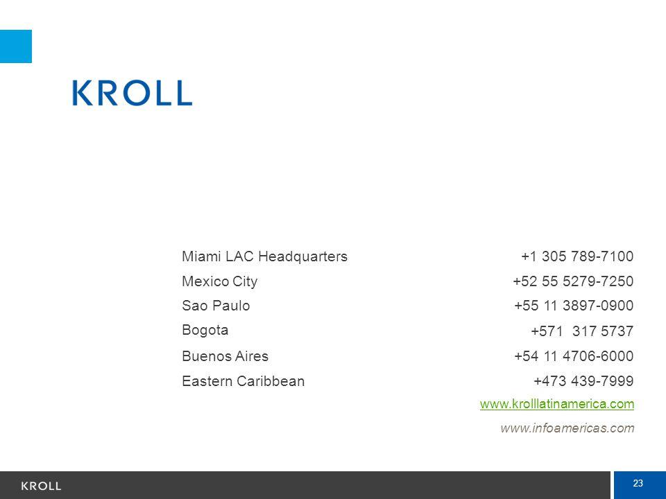 Miami LAC Headquarters +1 305 789-7100 Mexico City +52 55 5279-7250