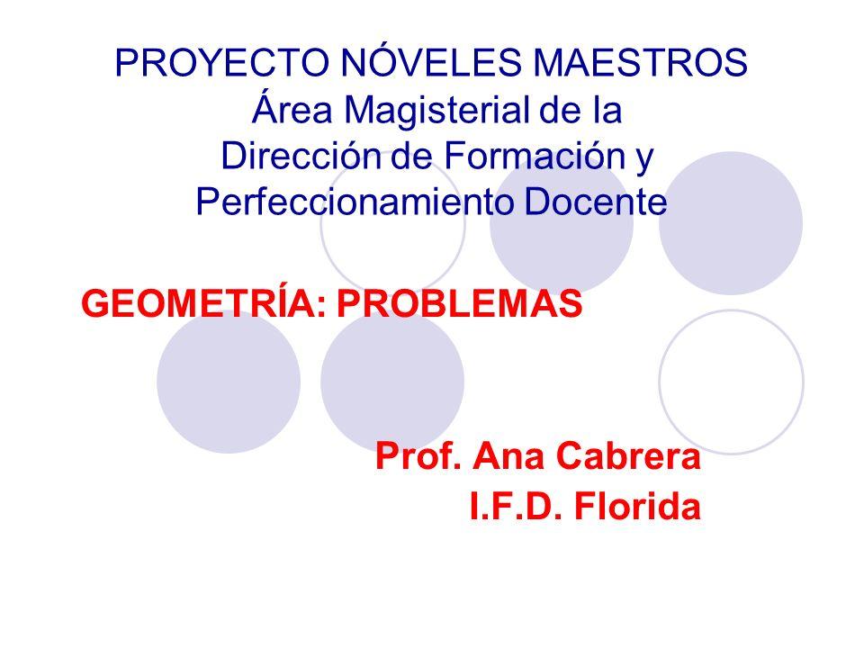 GEOMETRÍA: PROBLEMAS Prof. Ana Cabrera I.F.D. Florida