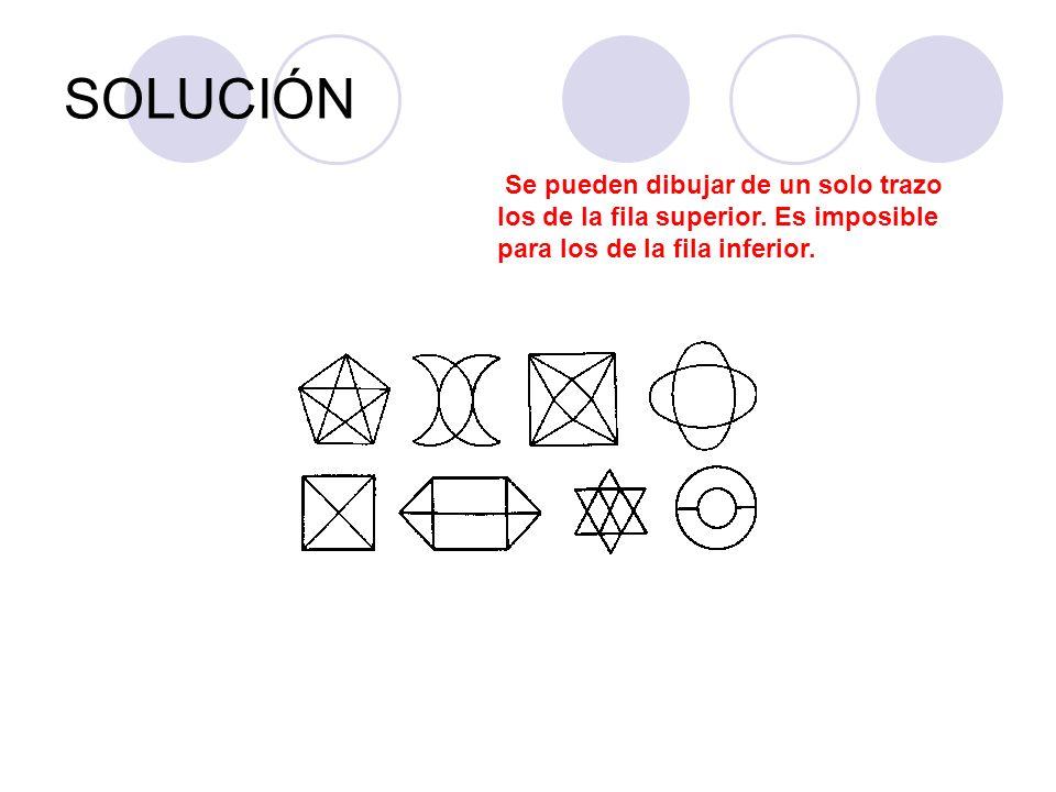 SOLUCIÓNSe pueden dibujar de un solo trazo los de la fila superior.