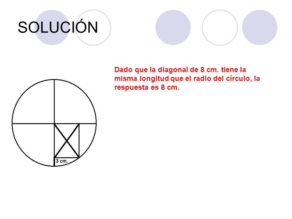 SOLUCIÓN Dado que la diagonal de 8 cm.