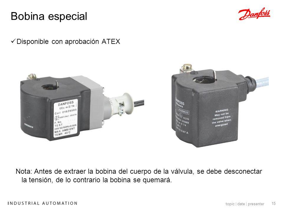 Bobina especial Disponible con aprobación ATEX