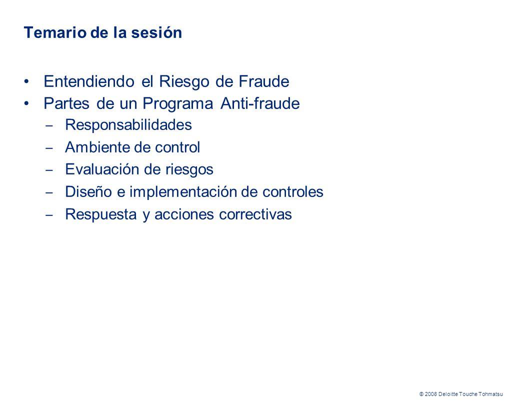 Entendiendo el Riesgo de Fraude Partes de un Programa Anti-fraude