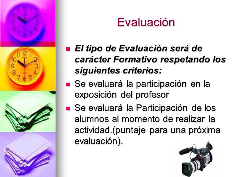 Evaluación El tipo de Evaluación será de carácter Formativo respetando los siguientes criterios: