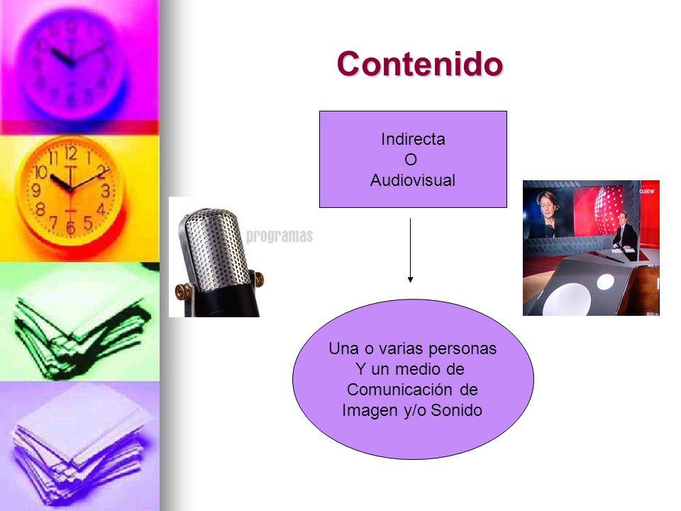 Contenido Indirecta O Audiovisual Una o varias personas Y un medio de