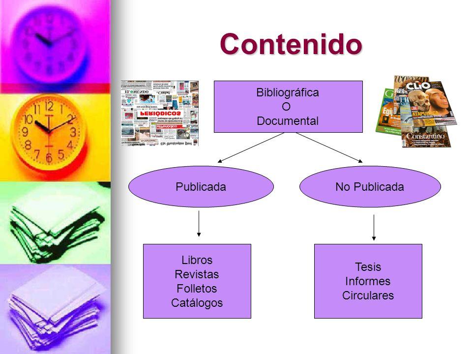 Contenido Bibliográfica O Documental Publicada No Publicada Libros