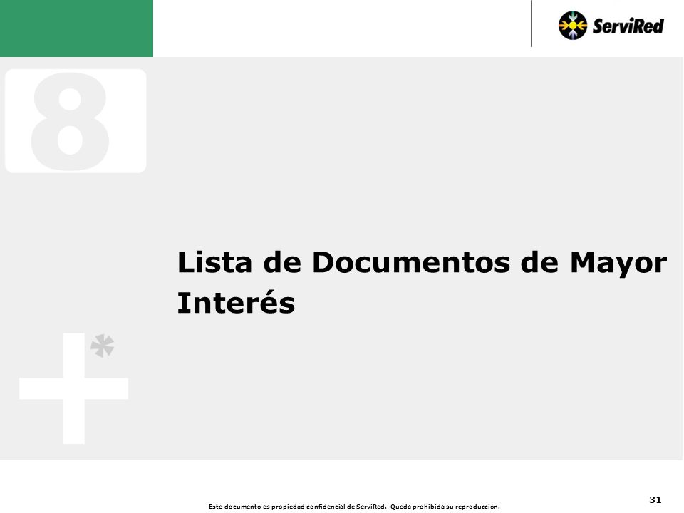 Lista de Documentos de Mayor Interés