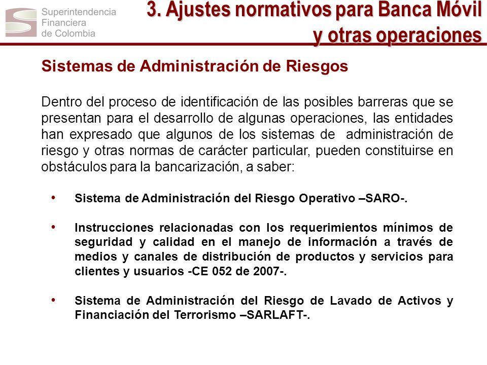 3. Ajustes normativos para Banca Móvil y otras operaciones