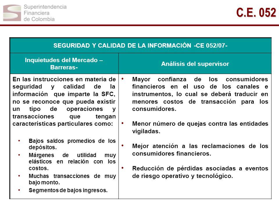 C.E. 052 SEGURIDAD Y CALIDAD DE LA INFORMACIÓN -CE 052/07-