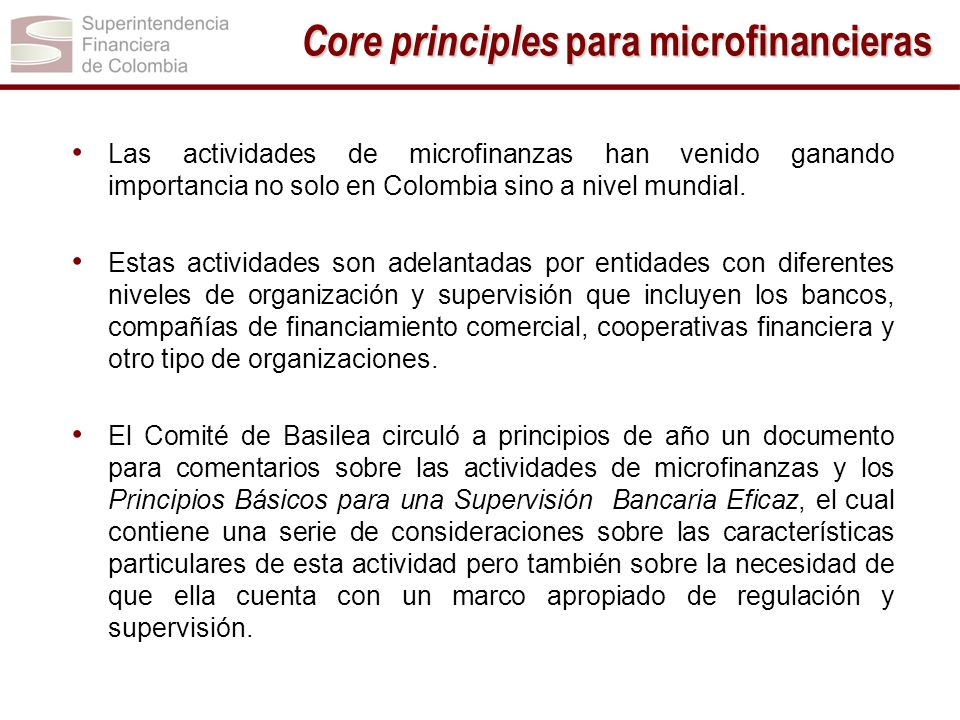 Core principles para microfinancieras