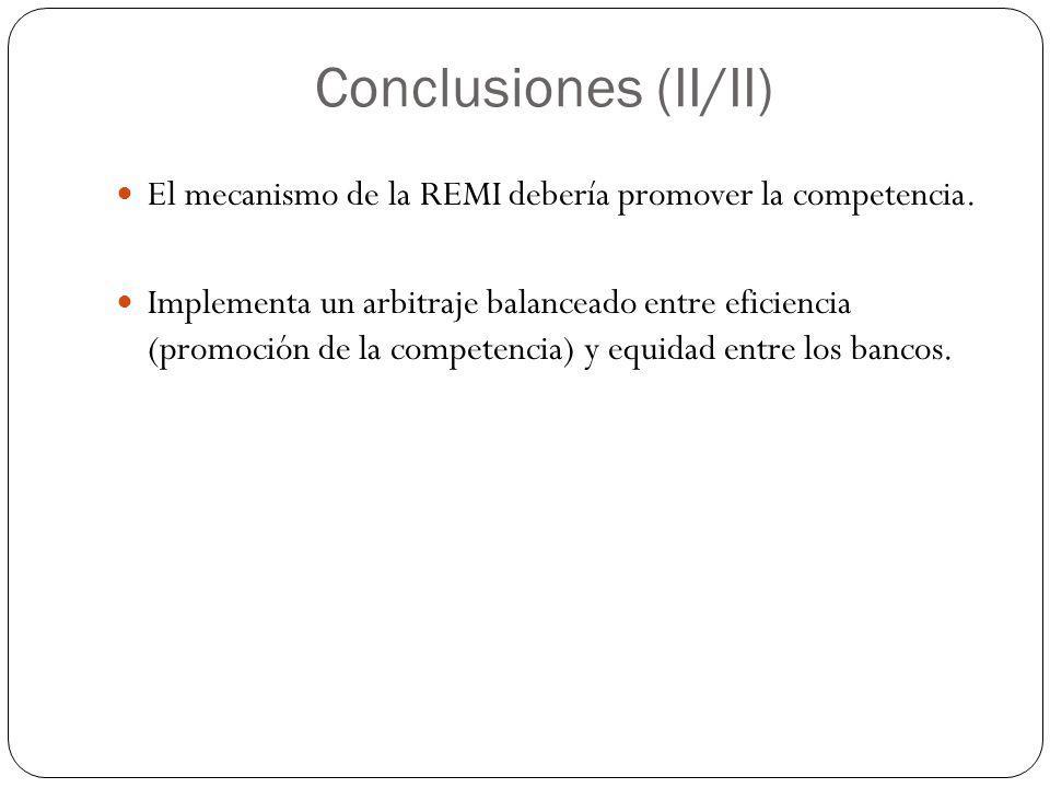 Conclusiones (II/II) El mecanismo de la REMI debería promover la competencia.