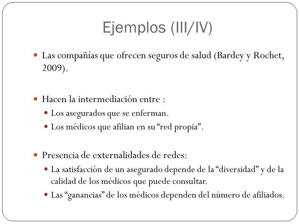 Ejemplos (III/IV) Las compañías que ofrecen seguros de salud (Bardey y Rochet, 2009). Hacen la intermediación entre :