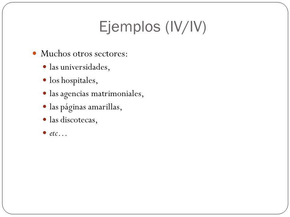 Ejemplos (IV/IV) Muchos otros sectores: las universidades,