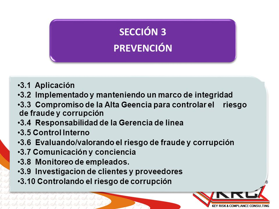SECCIÓN 3 PREVENCIÓN 3.1 Aplicación