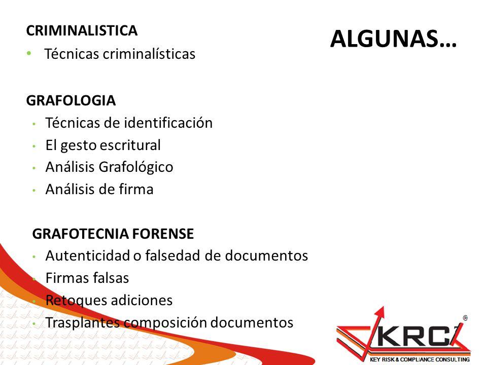 ALGUNAS… CRIMINALISTICA Técnicas criminalísticas GRAFOLOGIA