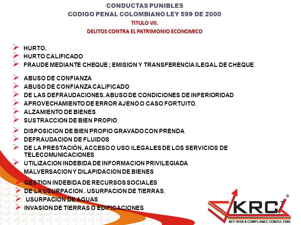 CODIGO PENAL COLOMBIANO LEY 599 DE 2000 TITULO VII.