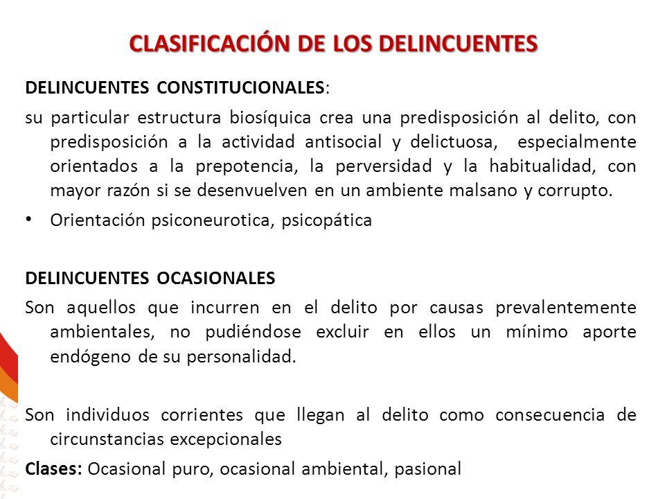 CLASIFICACIÓN DE LOS DELINCUENTES