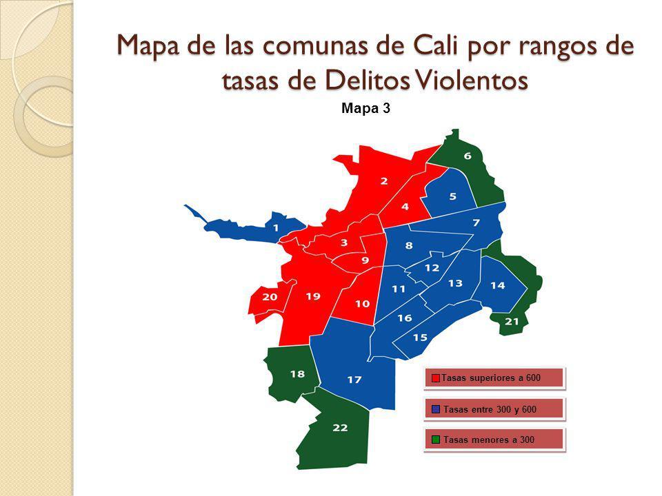 Mapa de las comunas de Cali por rangos de tasas de Delitos Violentos