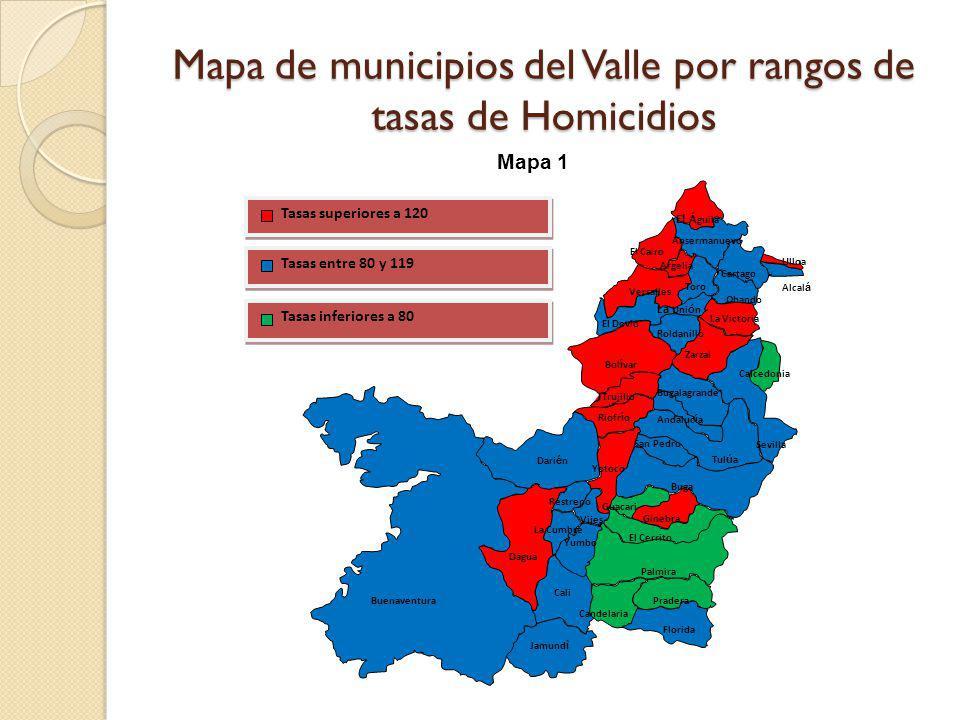 Mapa de municipios del Valle por rangos de tasas de Homicidios