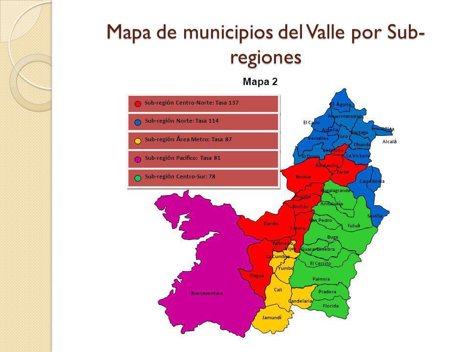 Mapa de municipios del Valle por Sub-regiones
