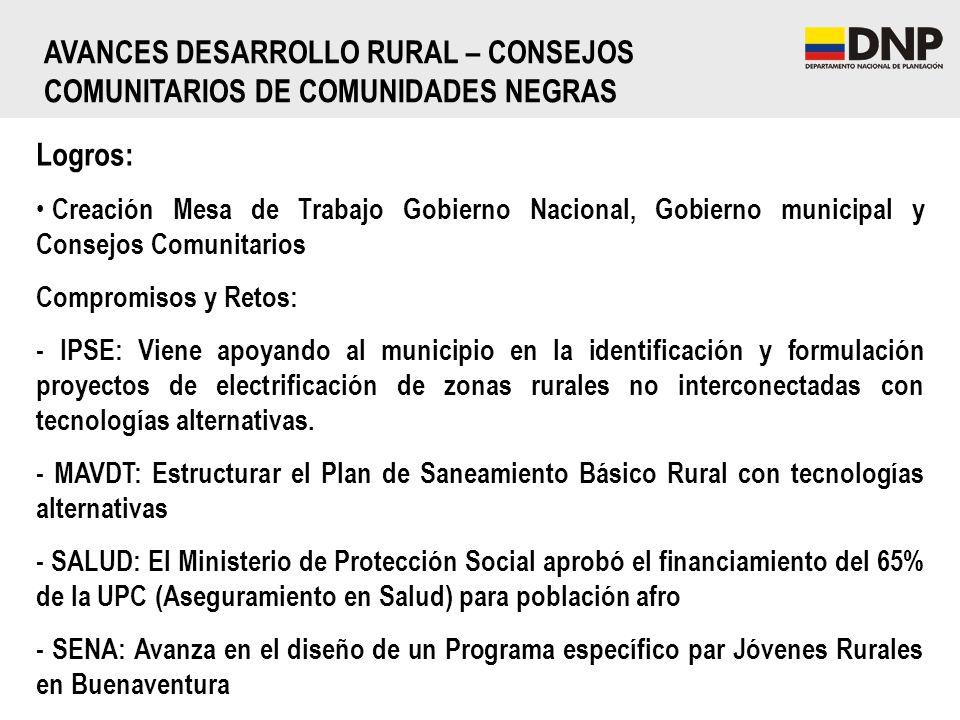 AVANCES DESARROLLO RURAL – CONSEJOS COMUNITARIOS DE COMUNIDADES NEGRAS
