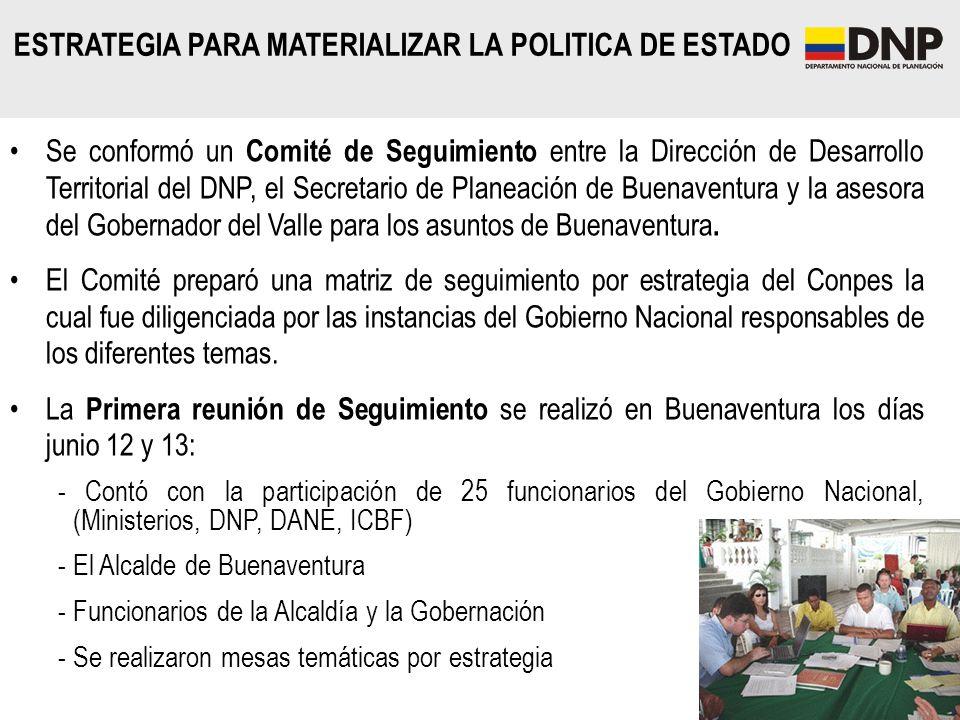 ESTRATEGIA PARA MATERIALIZAR LA POLITICA DE ESTADO