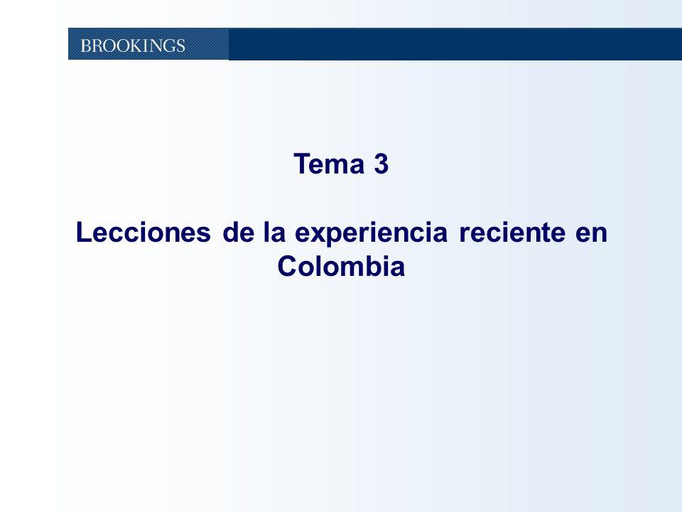 Tema 3 Lecciones de la experiencia reciente en Colombia