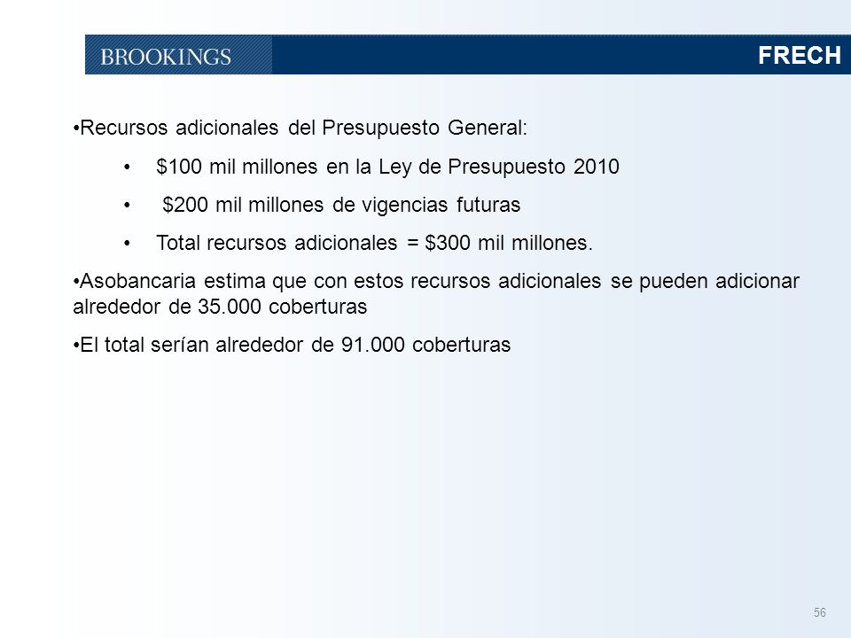 FRECH Recursos adicionales del Presupuesto General:
