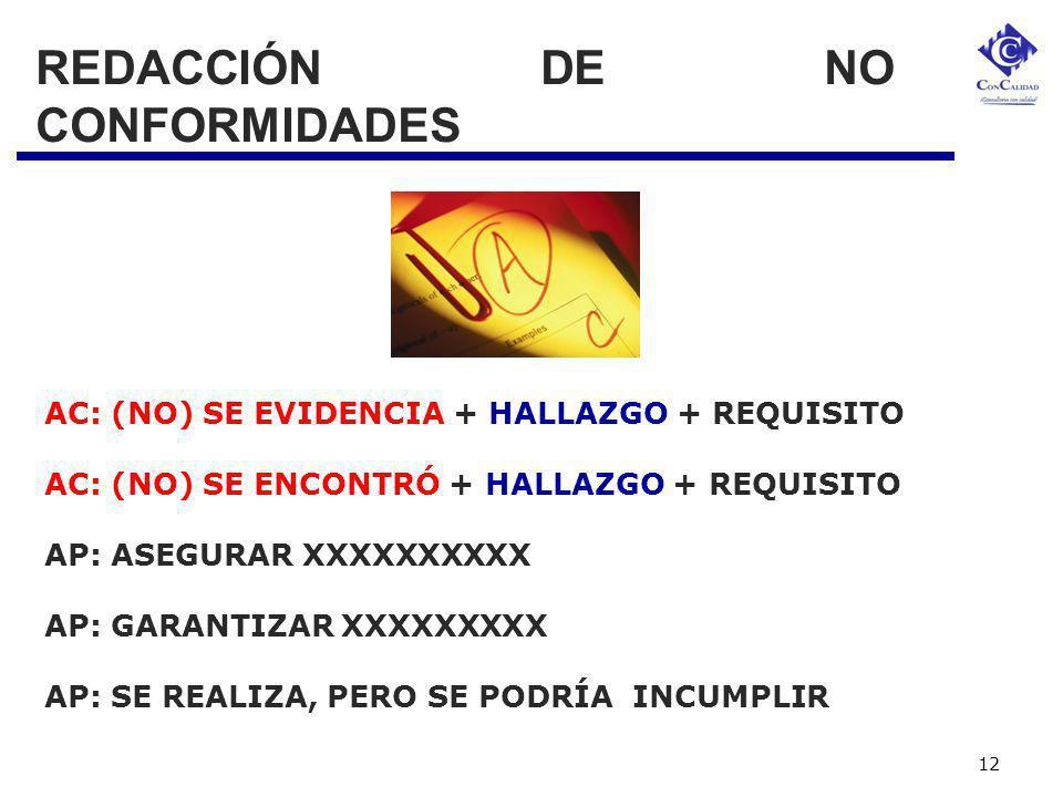 REDACCIÓN DE NO CONFORMIDADES