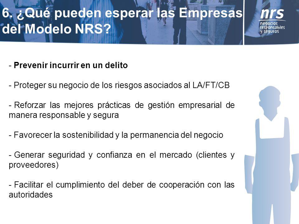 6. ¿Qué pueden esperar las Empresas del Modelo NRS