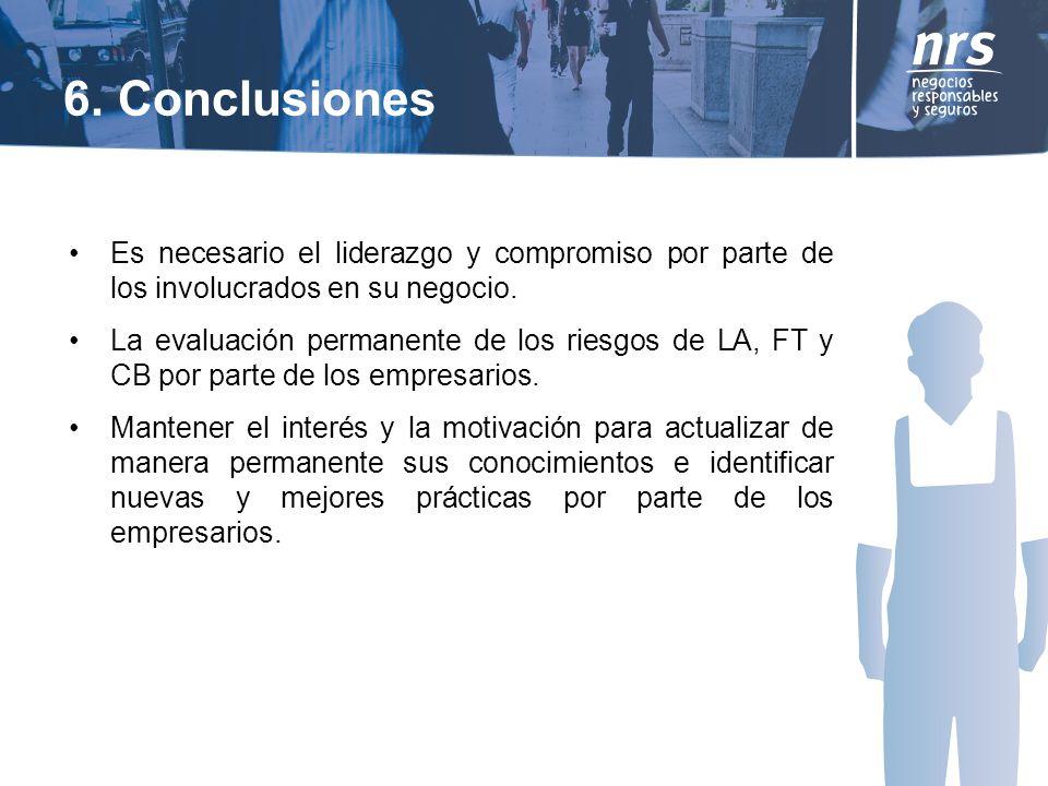 6. Conclusiones Es necesario el liderazgo y compromiso por parte de los involucrados en su negocio.